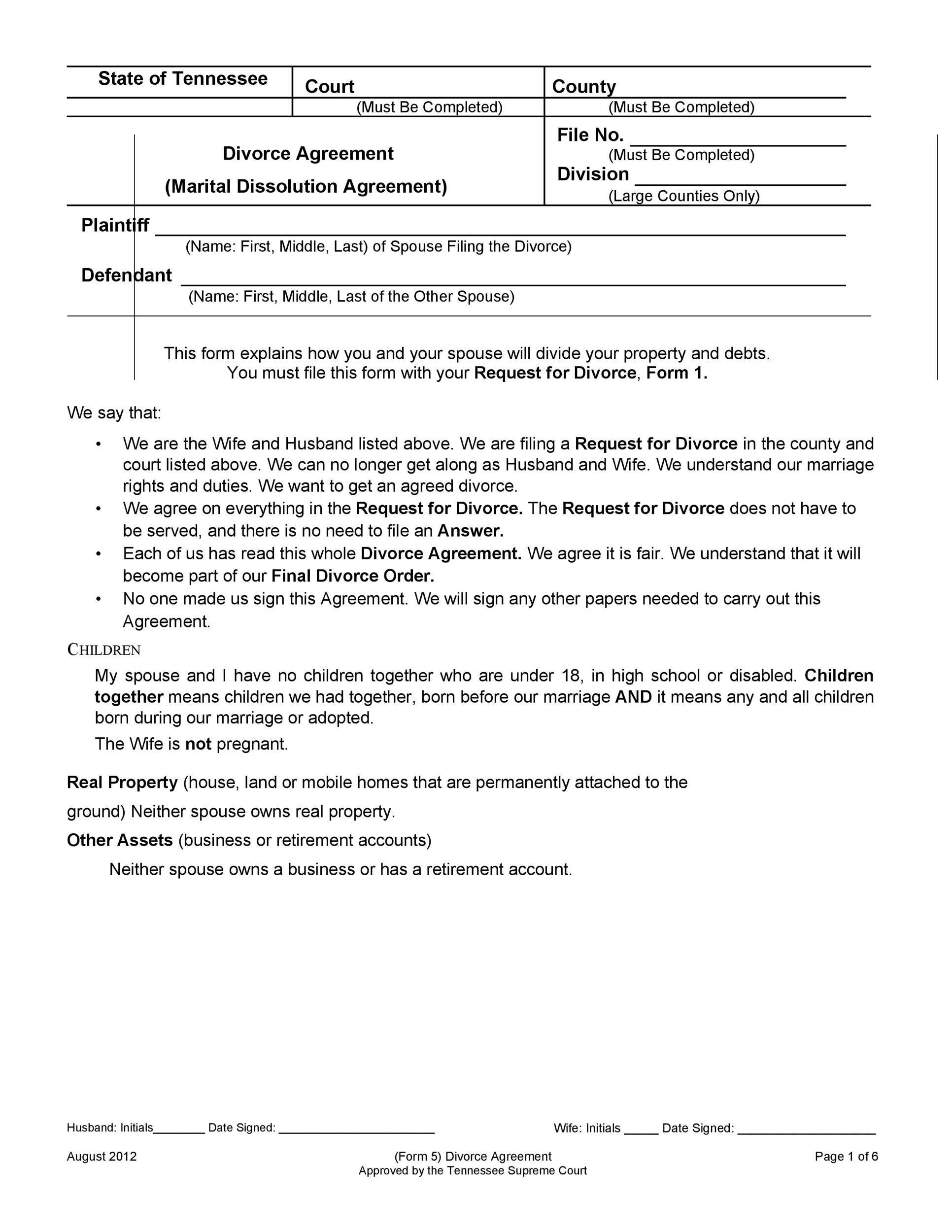 004 Dreaded Divorce Settlement Agreement Template Photo  Sample New York Marital Uk South AfricaFull