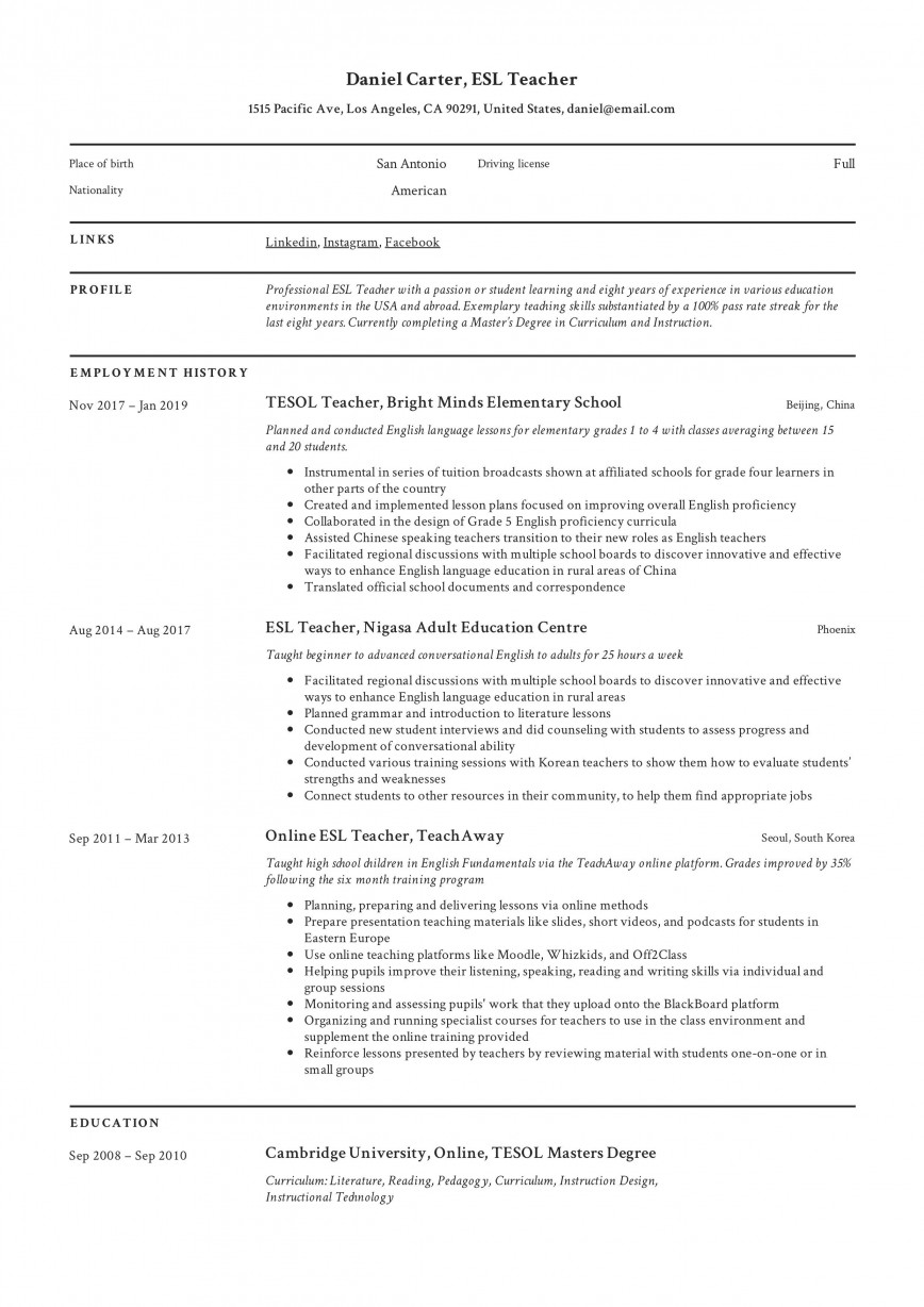 004 Dreaded Good Resume For Teaching Job Image  Sample Teacher Fresher In India868