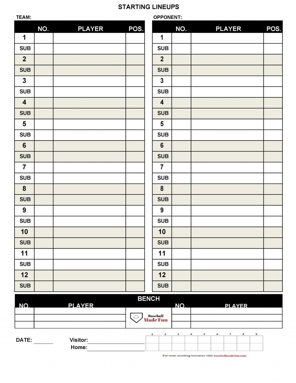 004 Dreaded Little League Lineup Card Template High Definition  BaseballLarge