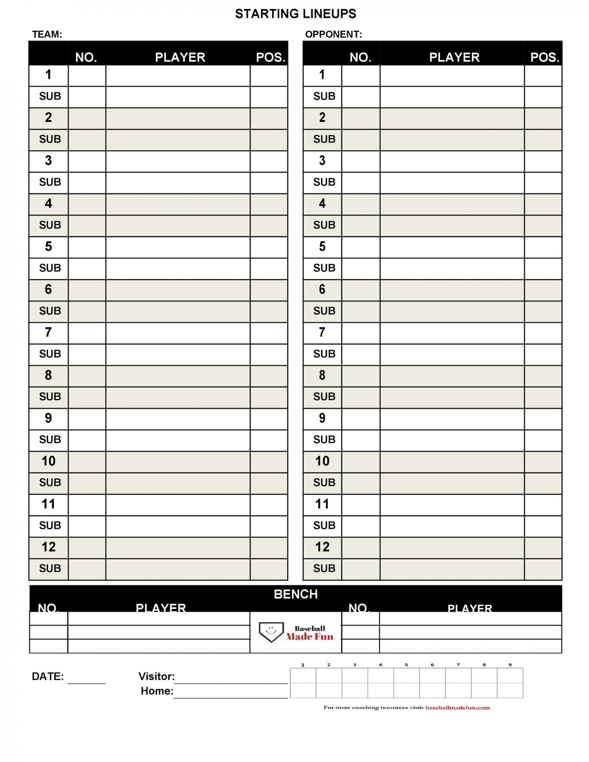 004 Dreaded Little League Lineup Card Template High Definition  Baseball1920