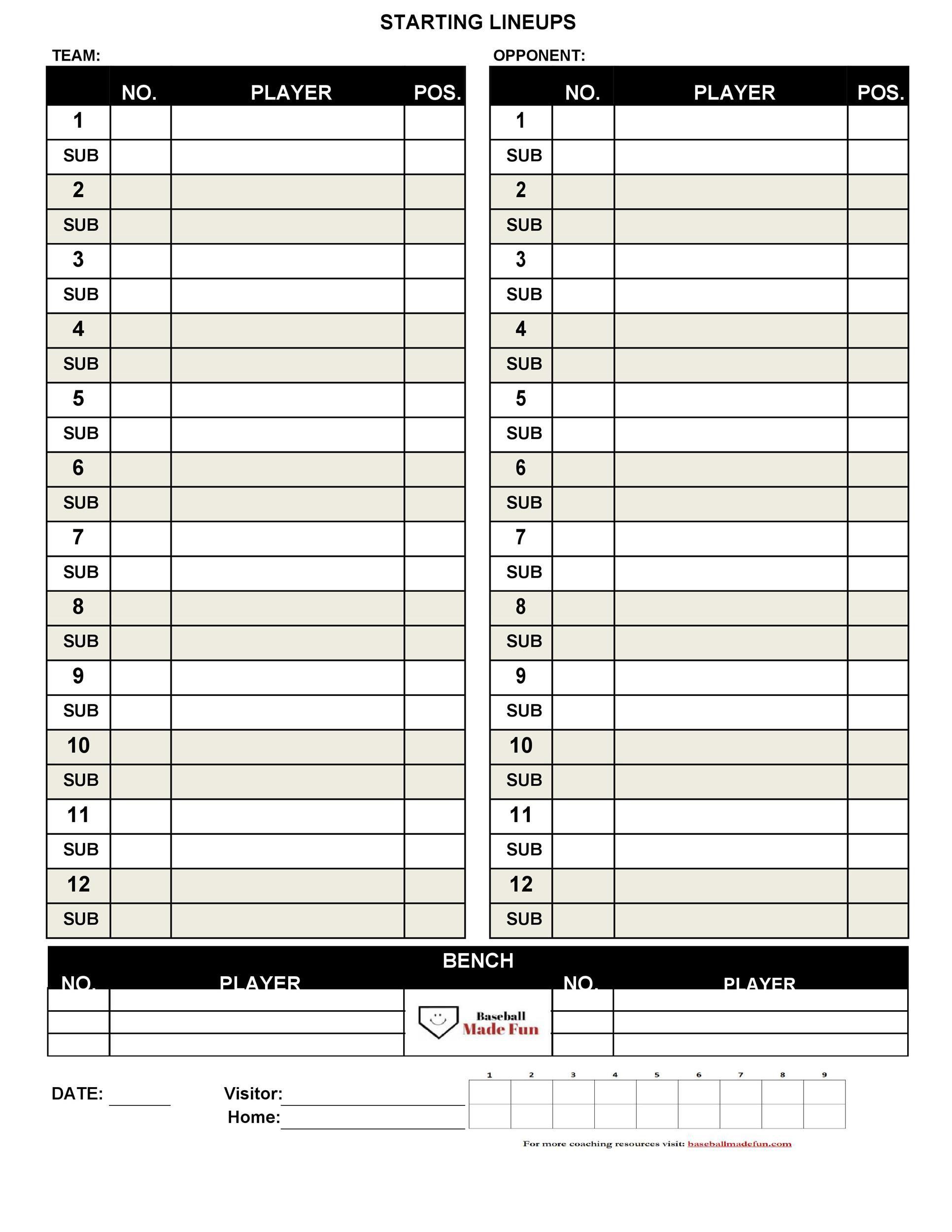 004 Dreaded Little League Lineup Card Template High Definition  BaseballFull