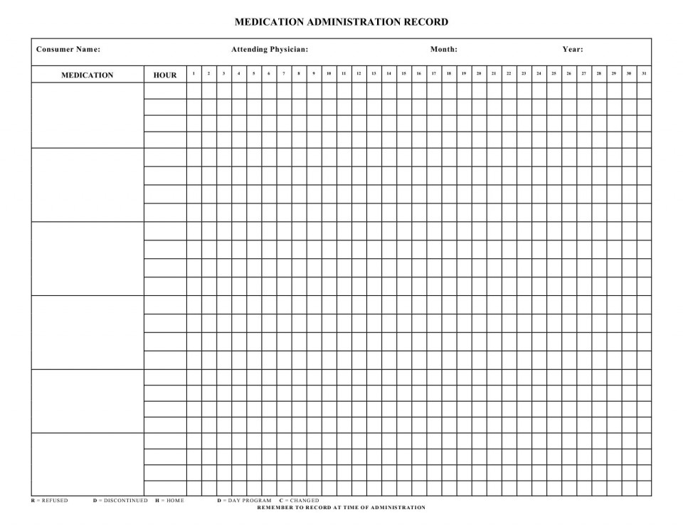 004 Dreaded Medication Administration Record Template Pdf High Resolution  Free Simple960