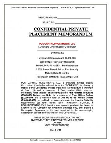 004 Dreaded Private Placement Memorandum Template Word Example 360