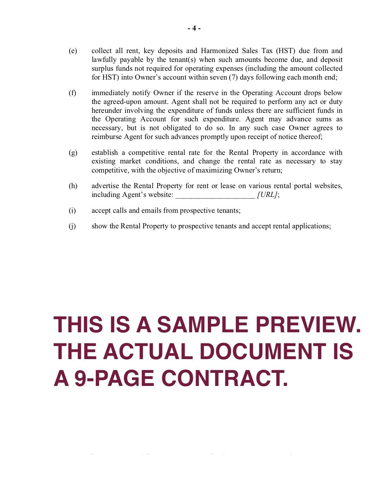 004 Dreaded Property Management Agreement Template Ontario Image  ContractFull