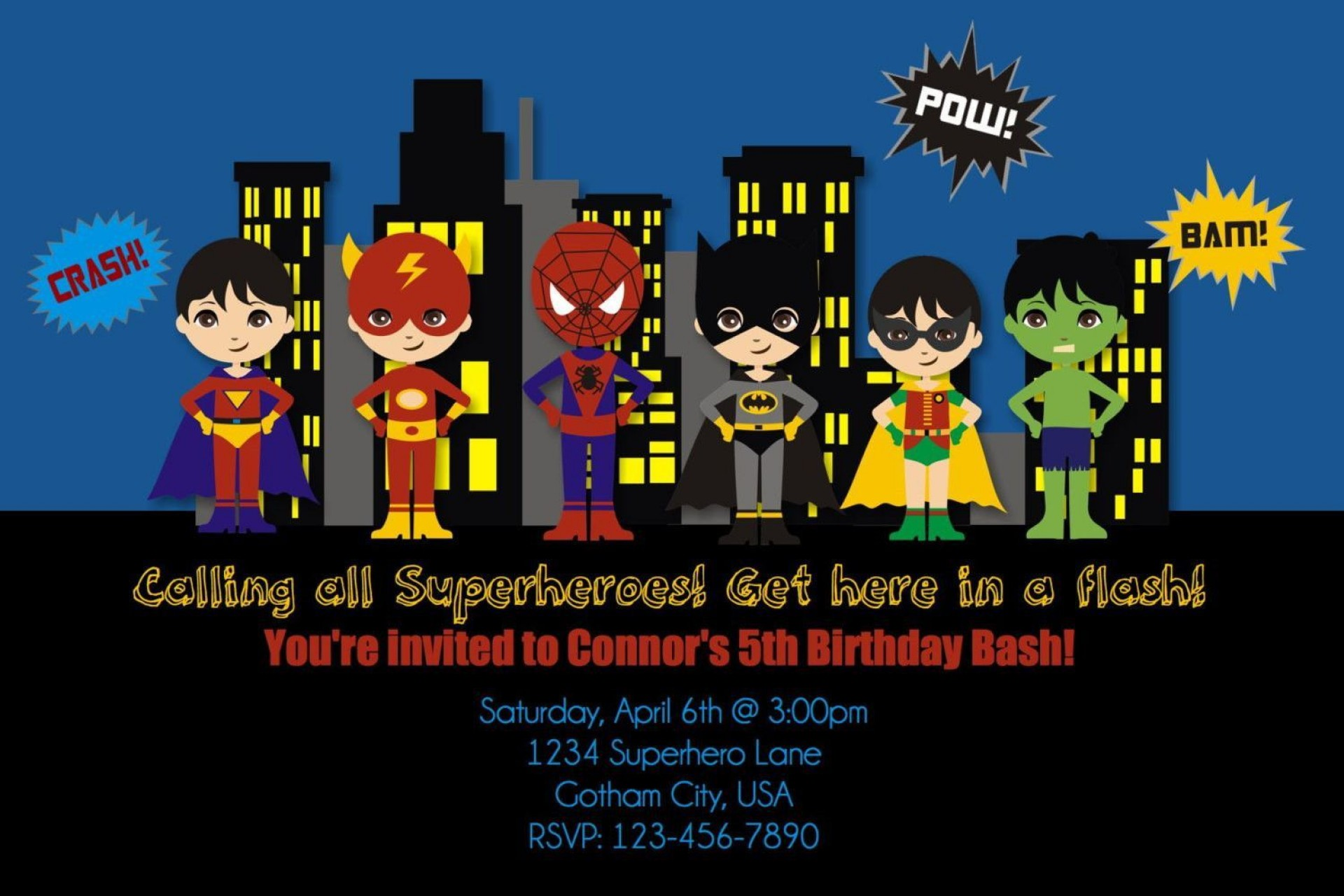 004 Dreaded Superhero Birthday Party Invitation Template Free Concept  Invite1920
