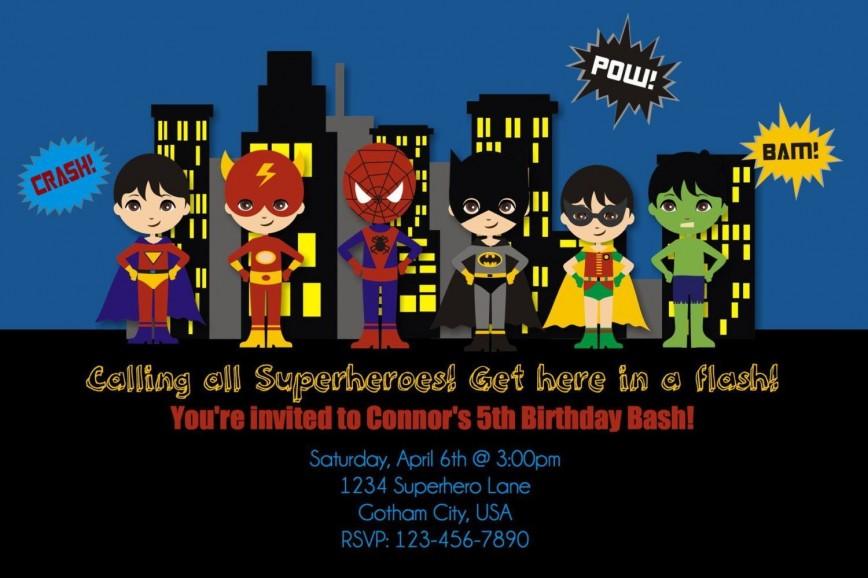 004 Dreaded Superhero Birthday Party Invitation Template Free Concept  Invite