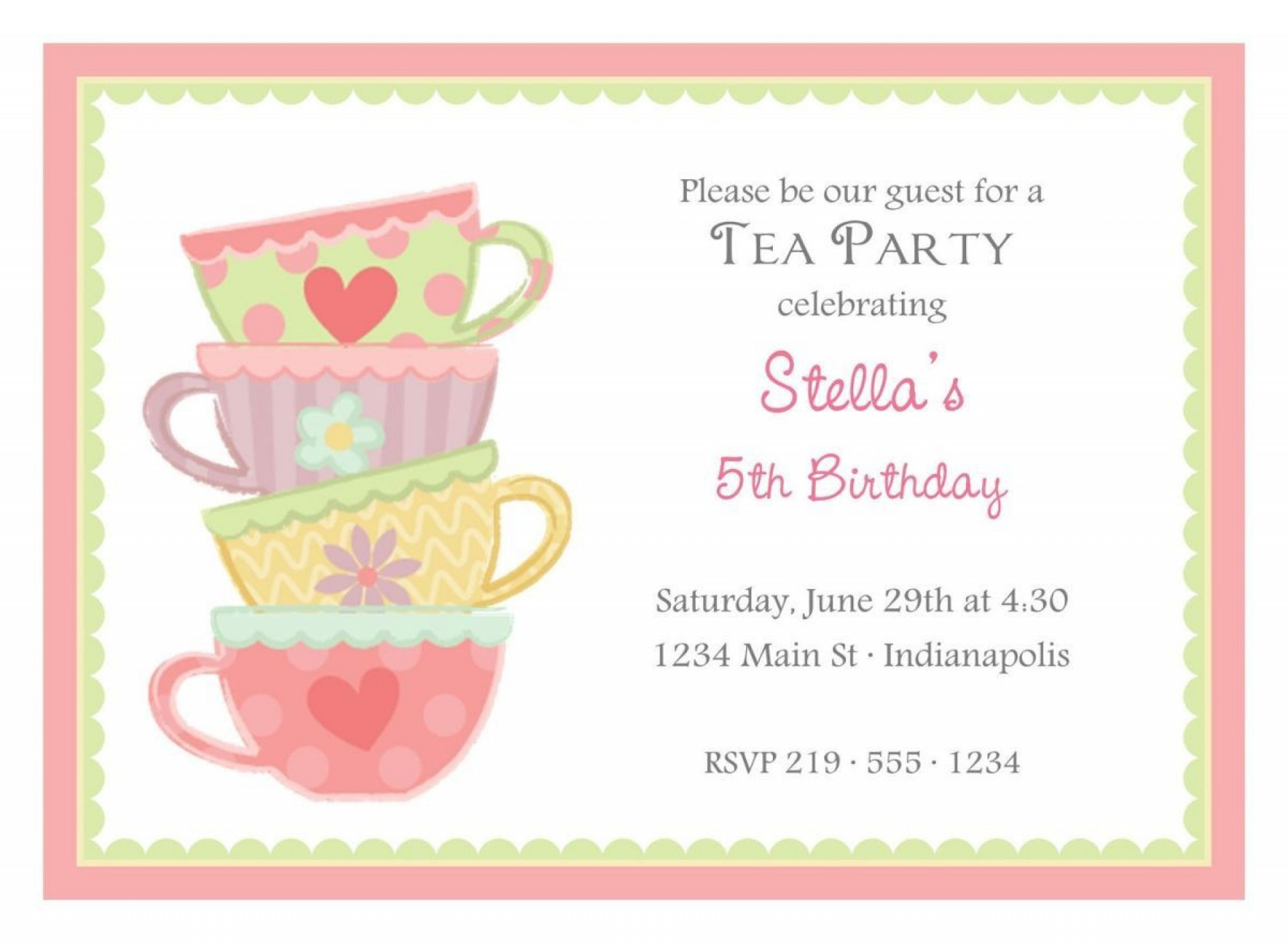 004 Dreaded Tea Party Invitation Template Free Example  Vintage Princes Printable1920