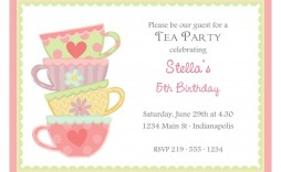 004 Dreaded Tea Party Invitation Template Free Example  Afternoon High Invite Download