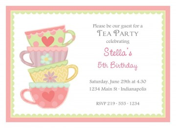 004 Dreaded Tea Party Invitation Template Free Example  Vintage Princes Printable360