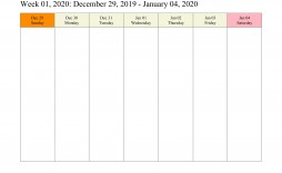 004 Dreaded Weekly Calendar 2020 Template Photo  Appointment Blank