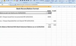 004 Excellent Bank Reconciliation Statement Format Excel Sheet Inspiration  Download
