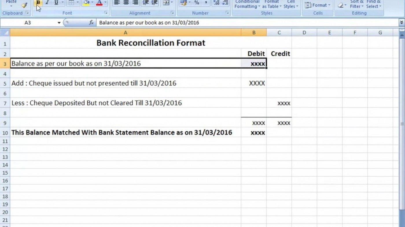 004 Excellent Bank Reconciliation Statement Format Excel Sheet Inspiration  DownloadFull