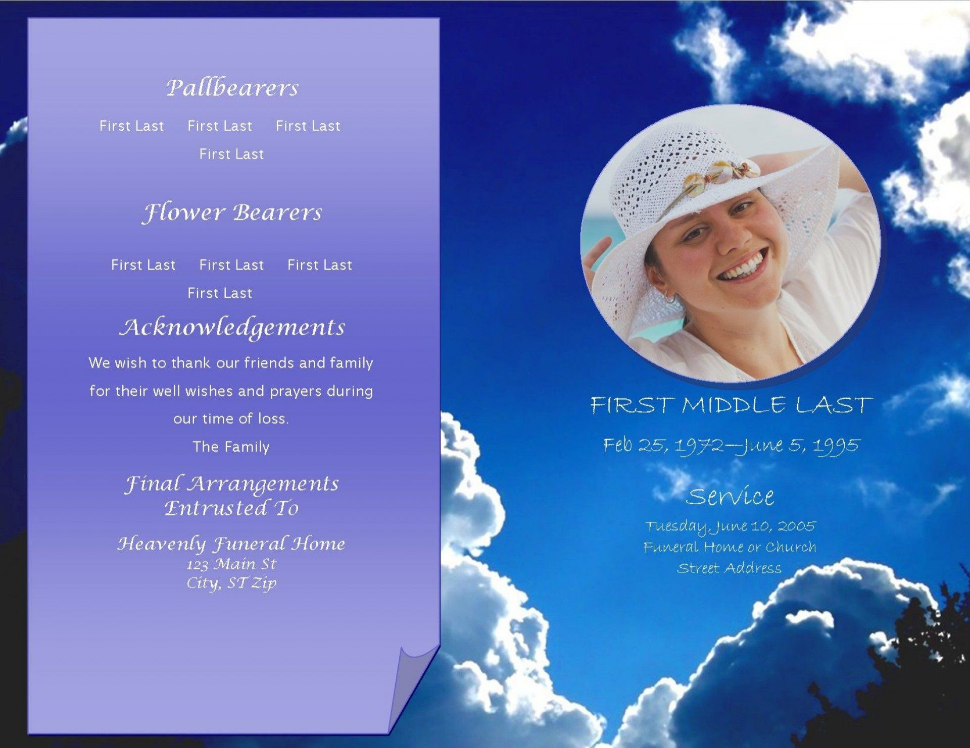 004 Excellent Celebration Of Life Invitation Template Free Concept 1920