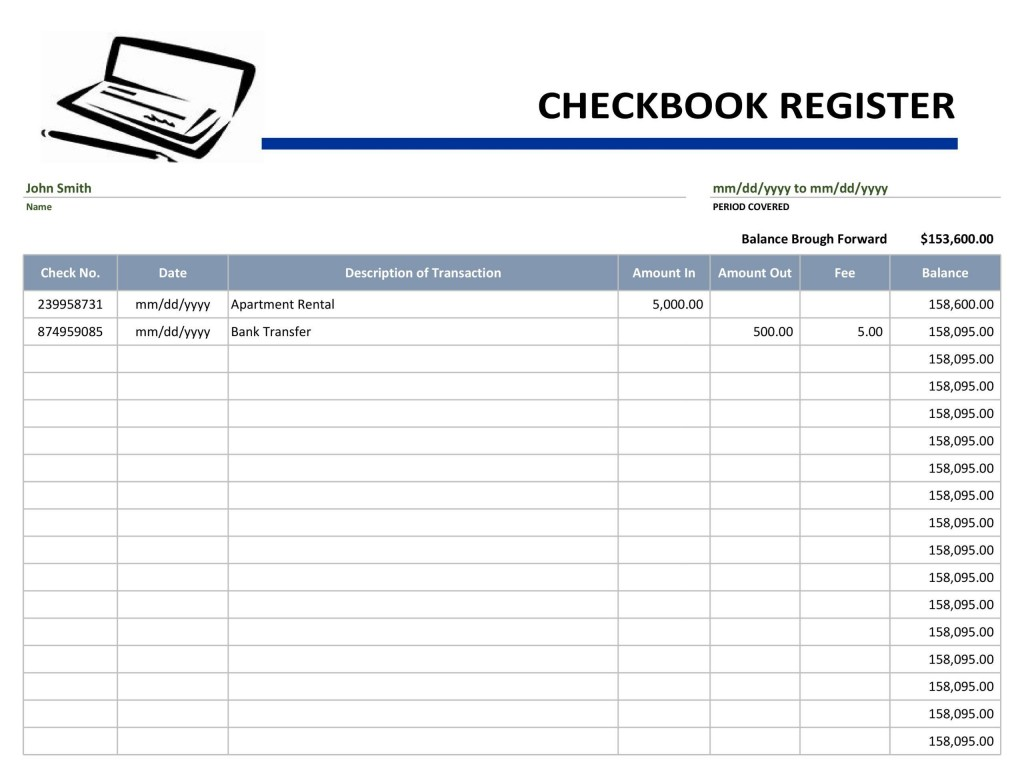 004 Excellent Checkbook Register Template Excel Concept  Check 2007 Balance 2003Large