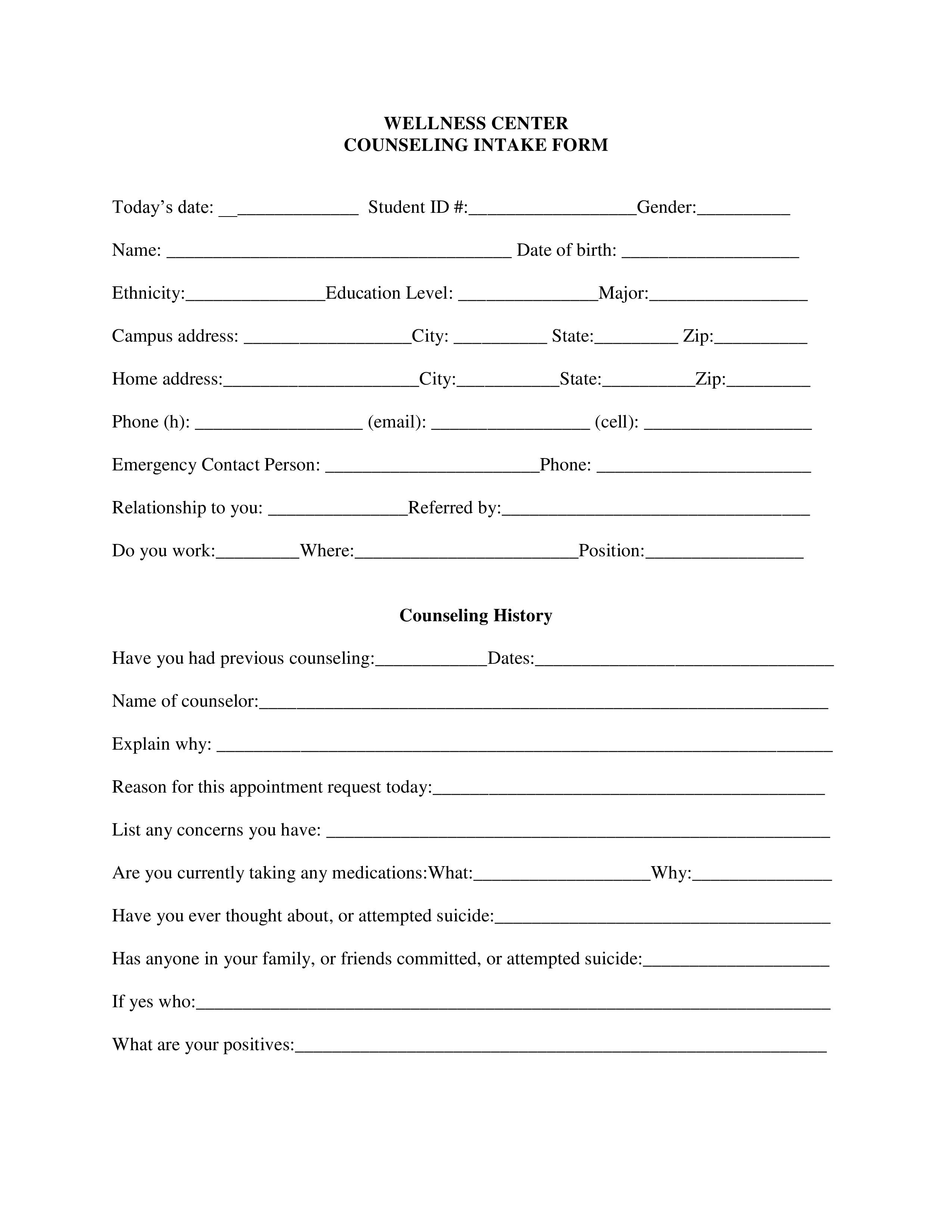004 Excellent Counseling Intake Form Template Highest Clarity  Templates Therapy Massage FreeFull