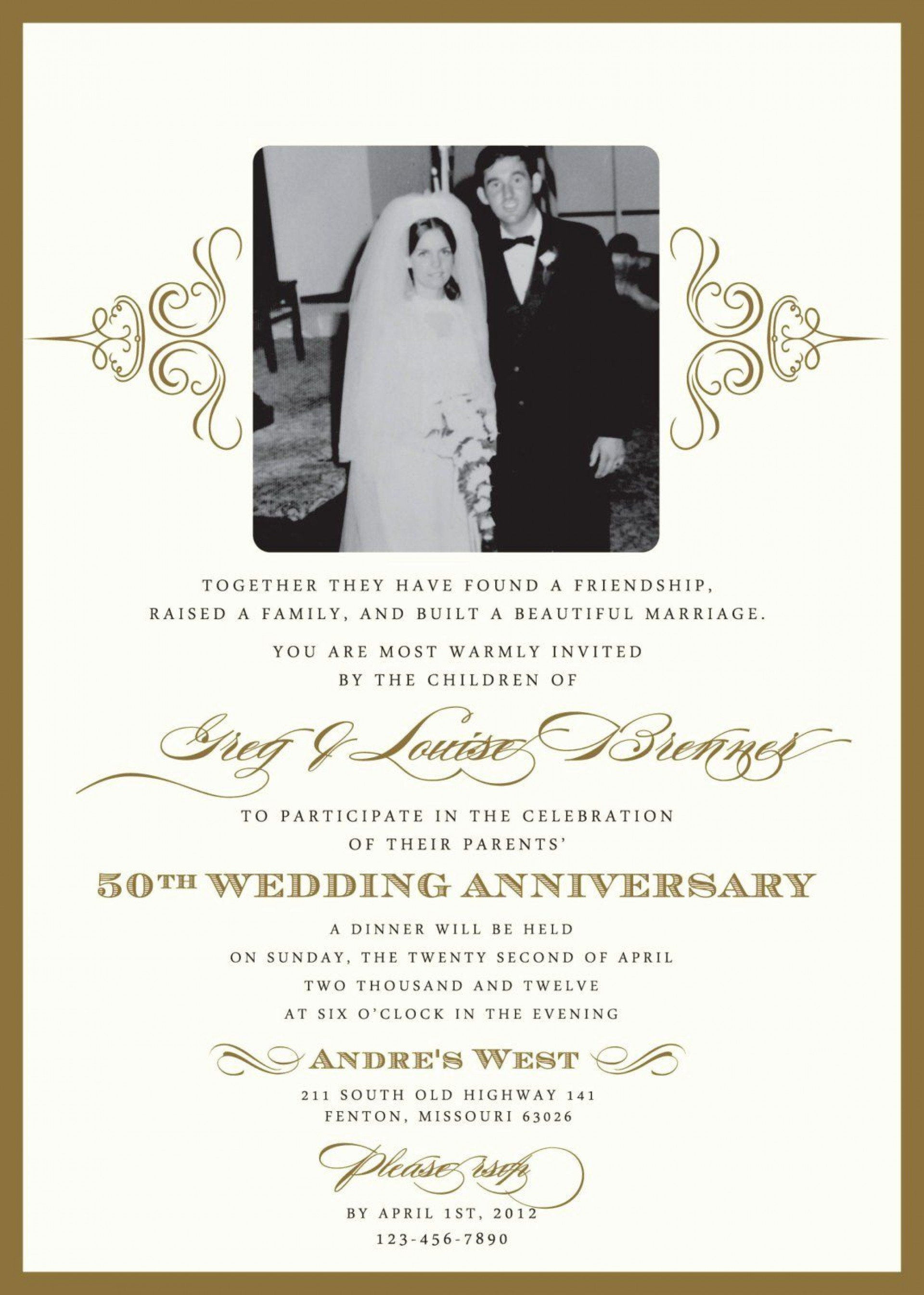 004 Excellent Free 50th Wedding Anniversary Party Invitation Template Image  Templates1920