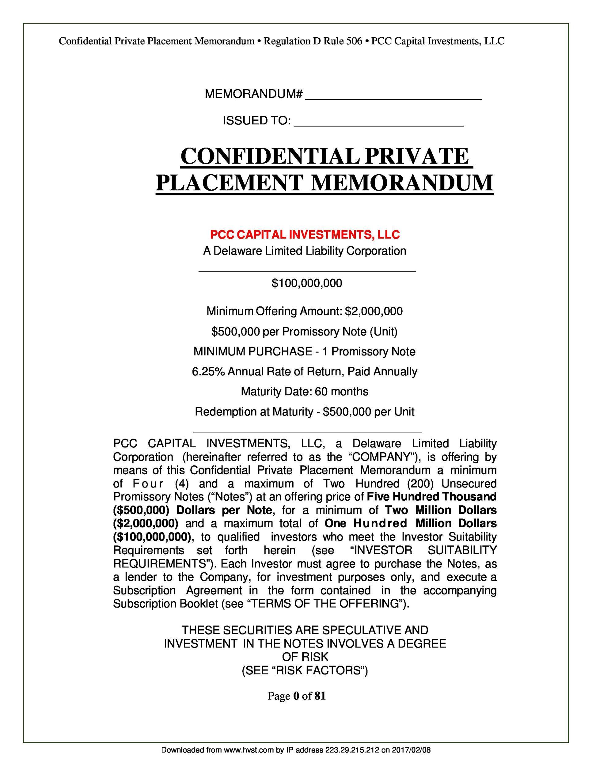 004 Excellent Free Private Placement Memorandum Template Highest Clarity Full