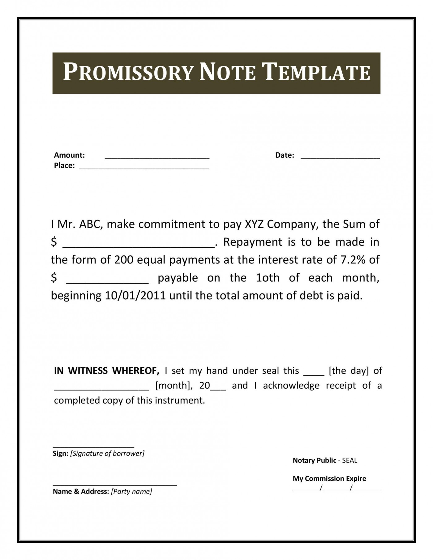 004 Excellent Free Promissory Note Template Pdf Example  Canada1400