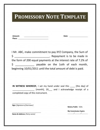 004 Excellent Free Promissory Note Template Pdf Example  Canada320