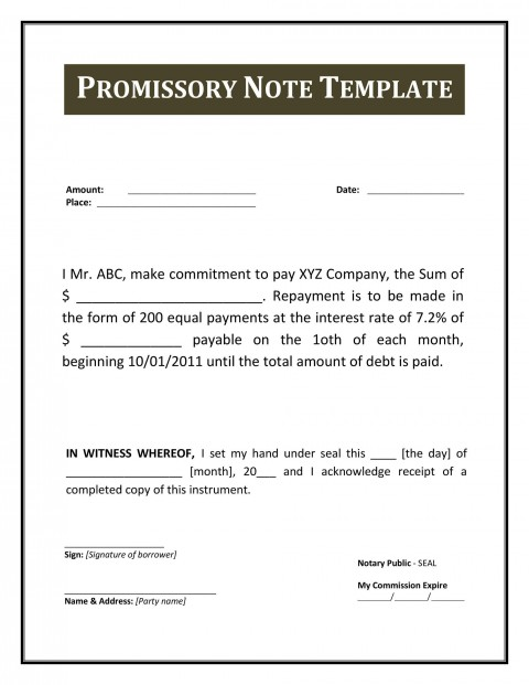 004 Excellent Free Promissory Note Template Pdf Example  Canada480