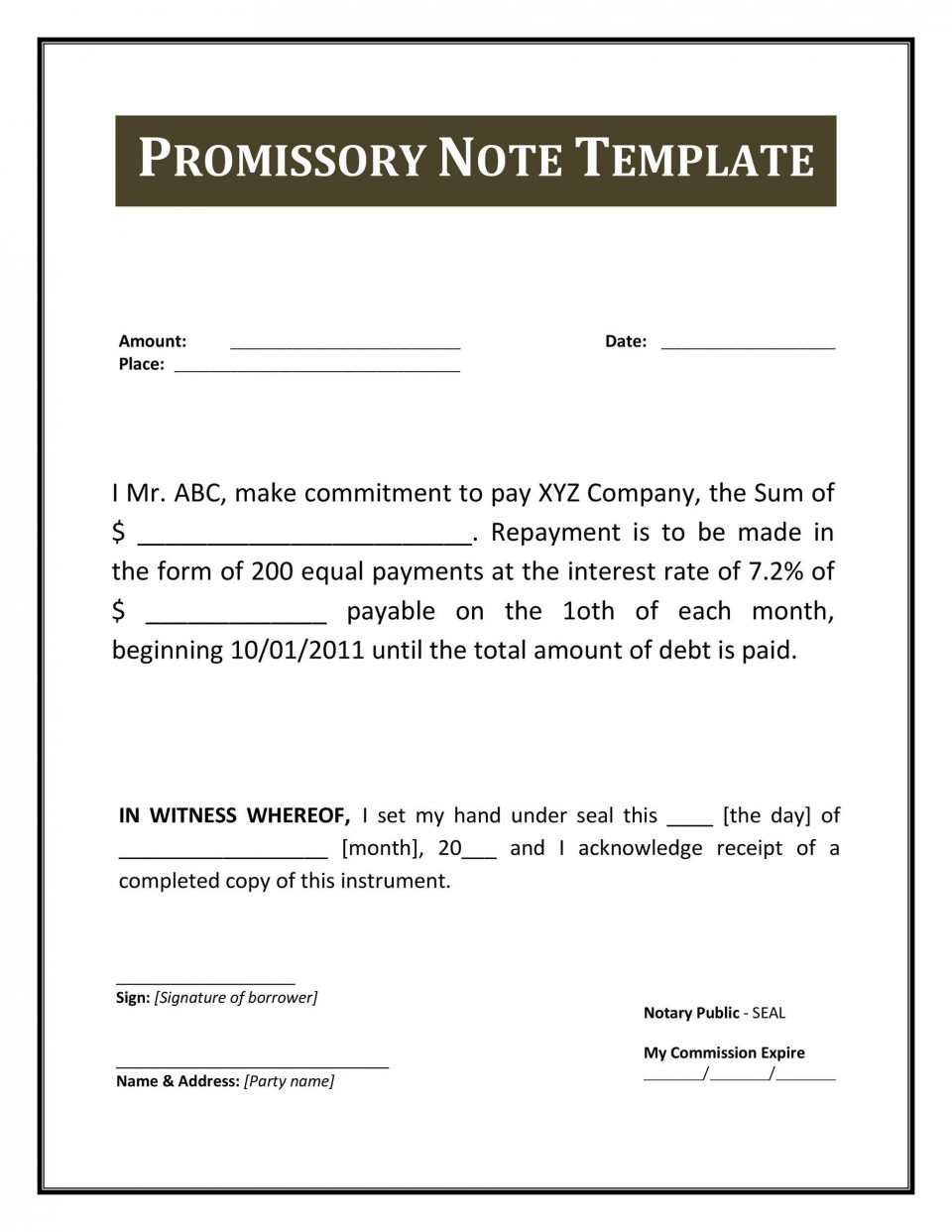 004 Excellent Free Promissory Note Template Pdf Example  Canada960