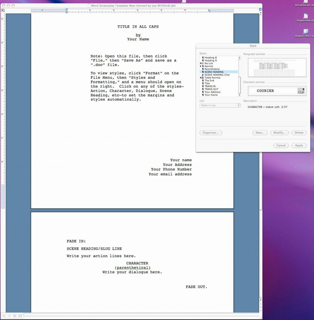 004 Excellent How To Use Microsoft Word Screenplay Template Sample Large