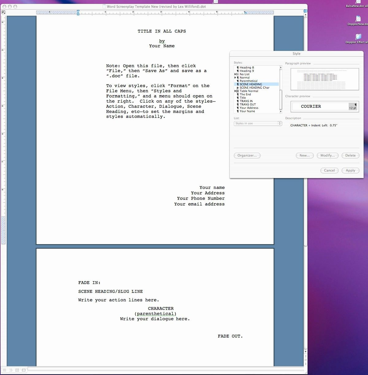 004 Excellent How To Use Microsoft Word Screenplay Template Sample Full