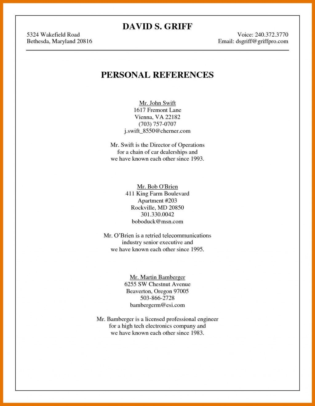 004 Excellent List Of Reference Template High Resolution  Employment Format Professional FreeLarge