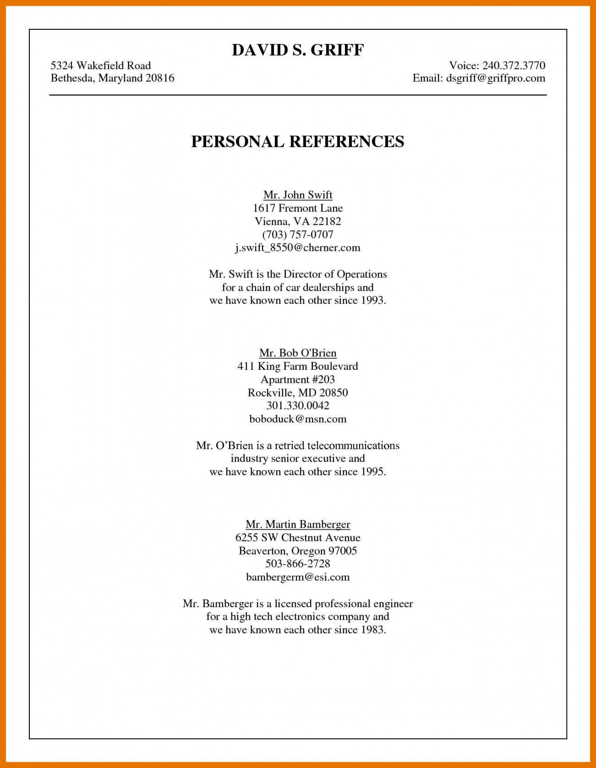 004 Excellent List Of Reference Template High Resolution  Employment Format Professional Free1920