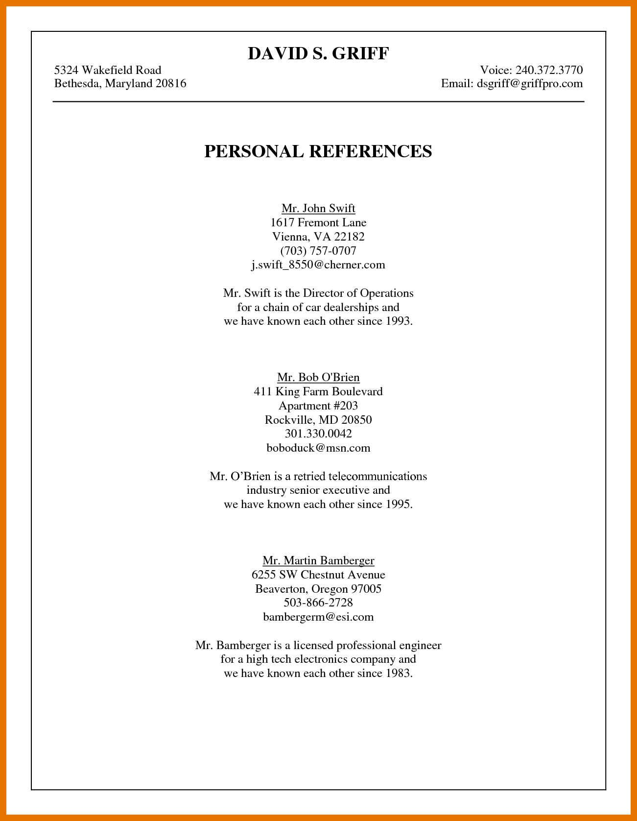 004 Excellent List Of Reference Template High Resolution  Employment Format Professional FreeFull