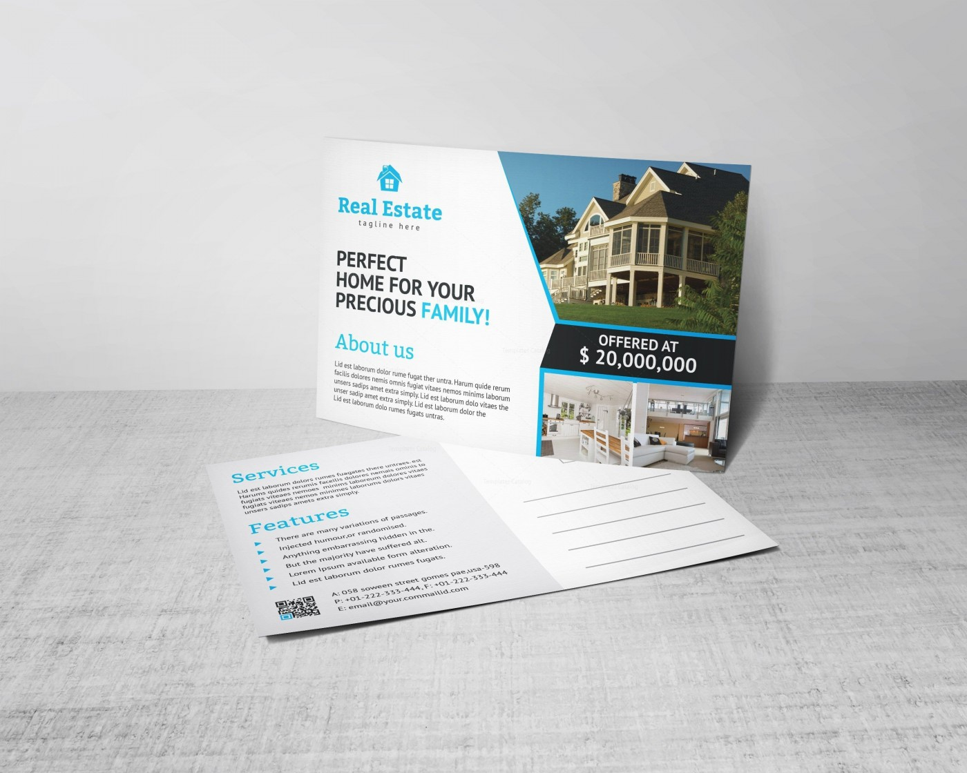 004 Excellent Real Estate Postcard Template Design  Agent For Photoshop Investor1400