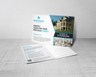 004 Excellent Real Estate Postcard Template Design  Agent For Photoshop Investor320
