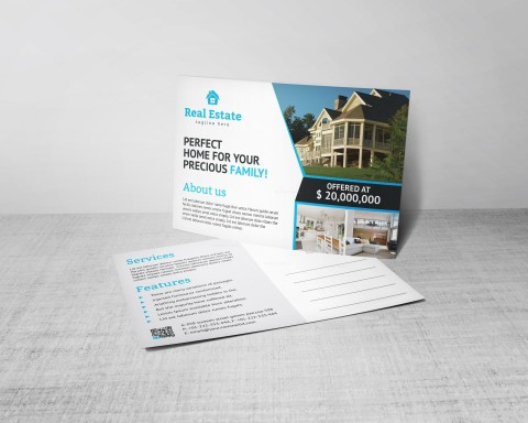004 Excellent Real Estate Postcard Template Design  Agent For Photoshop Investor480