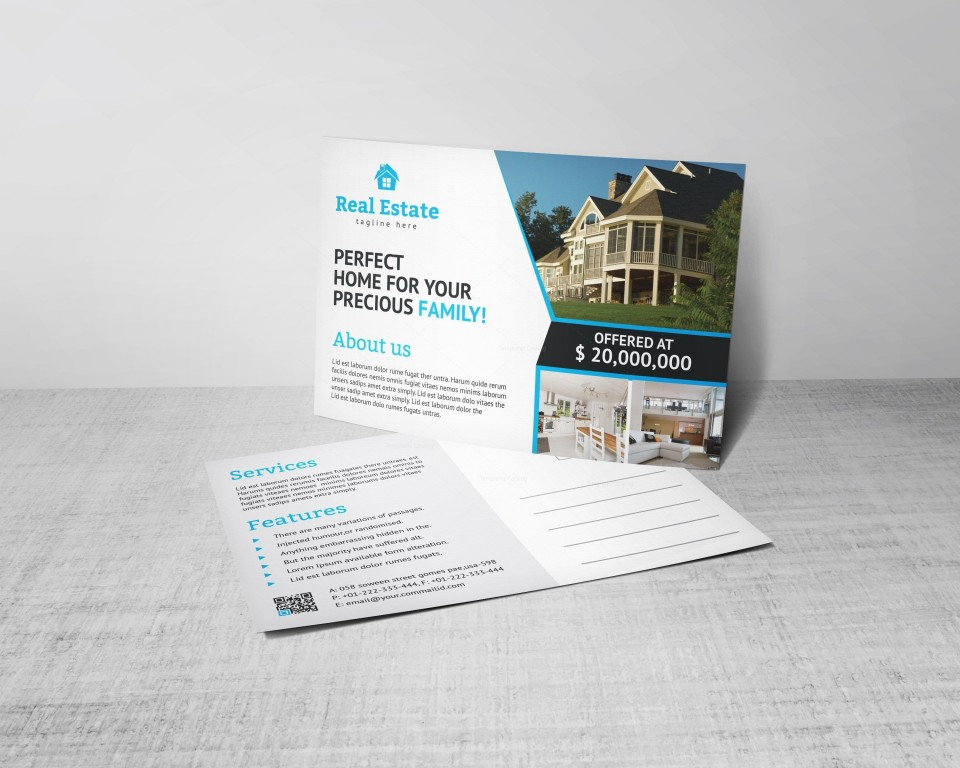 004 Excellent Real Estate Postcard Template Design  Agent Free Microsoft Word Investor960