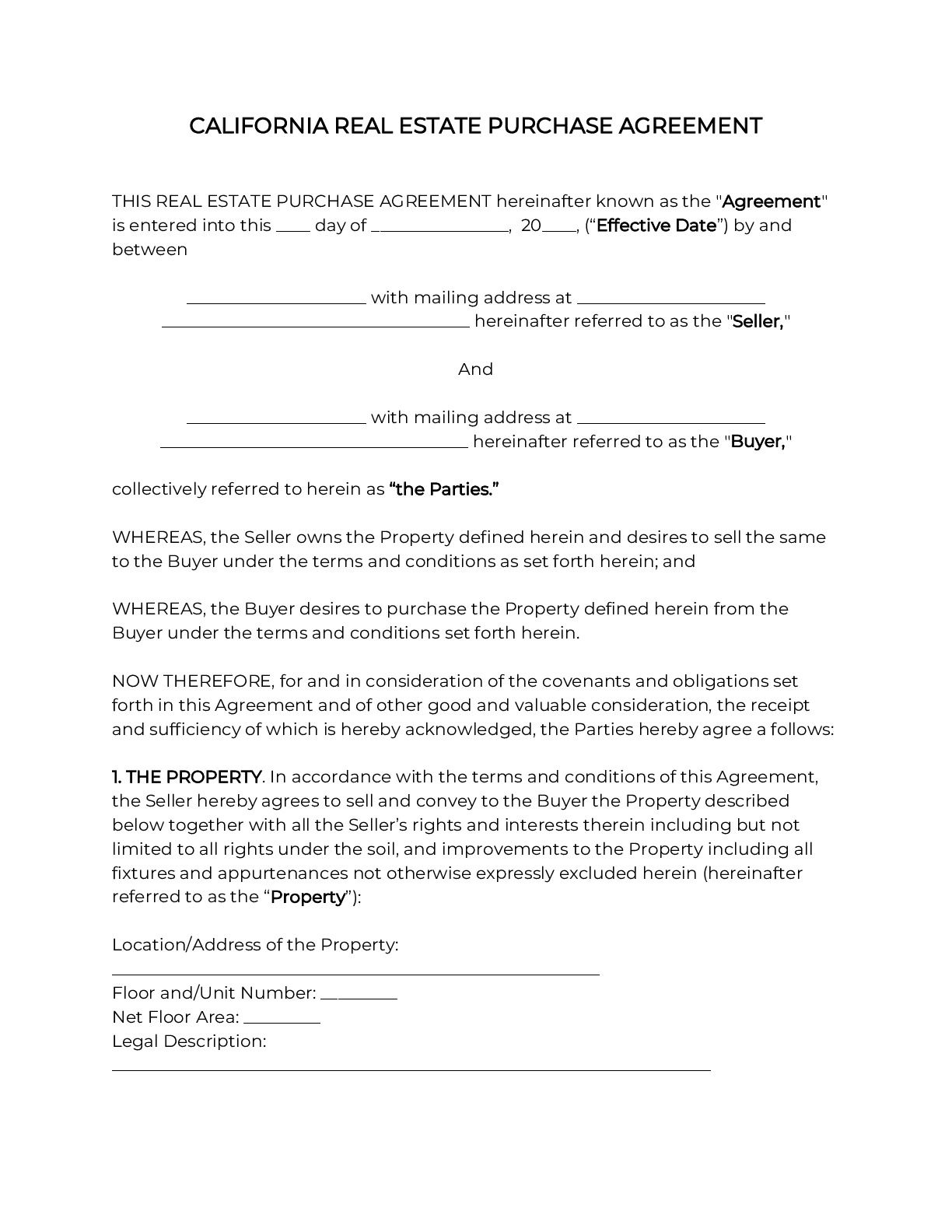 004 Excellent Real Estate Purchase Contract California Design  Commercial Agreement PdfFull