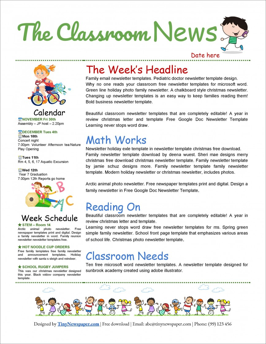 004 Excellent School Newsletter Template Word High Definition  Free Classroom Microsoft Editable For