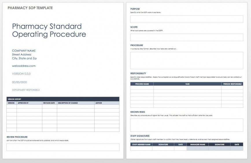 004 Excellent Standard Operating Procedure Template Word Highest Clarity  Microsoft (sop) Format Download868