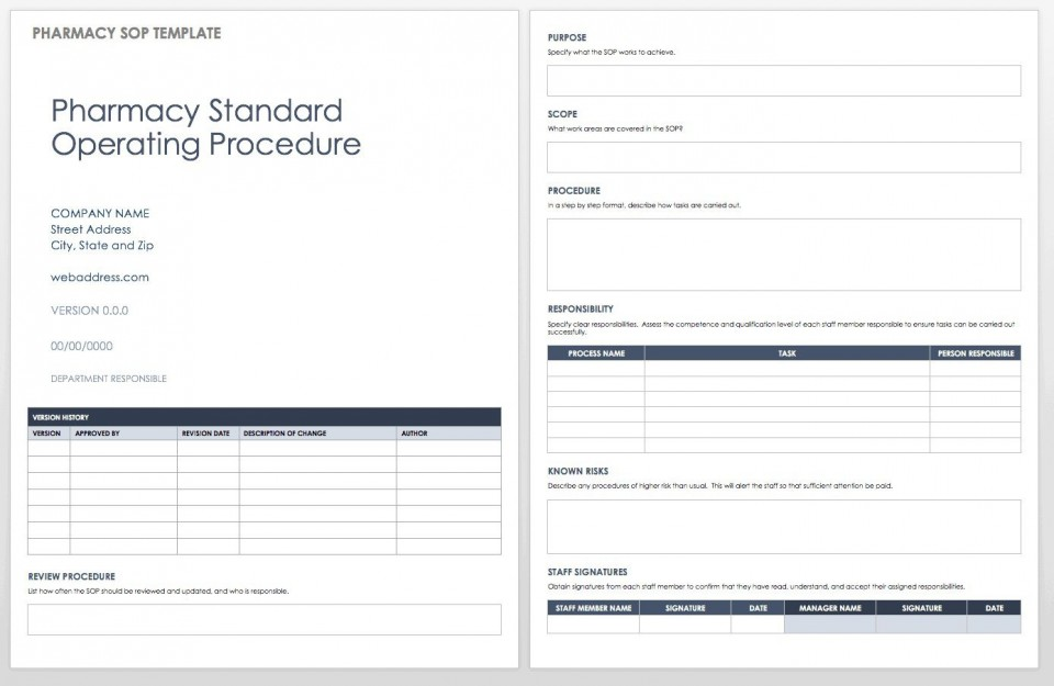 004 Excellent Standard Operating Procedure Template Word Highest Clarity  Microsoft (sop) Format Download960
