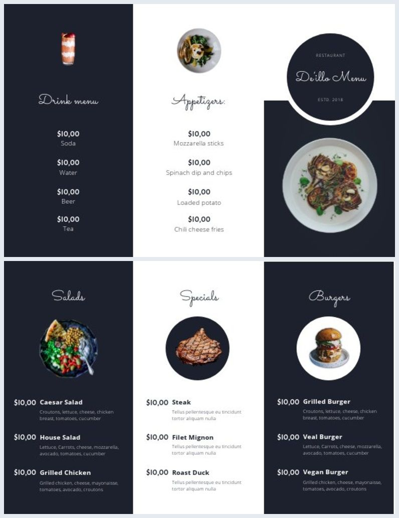 004 Excellent Take Out Menu Template High Def  Tri Fold Free Word Restaurant AwayFull