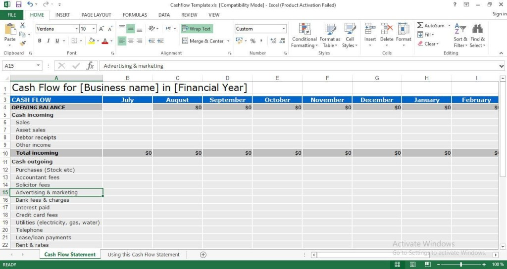 004 Exceptional Cash Flow Format Excel Download Sample  Forecast Template Indirect Statement In FreeLarge