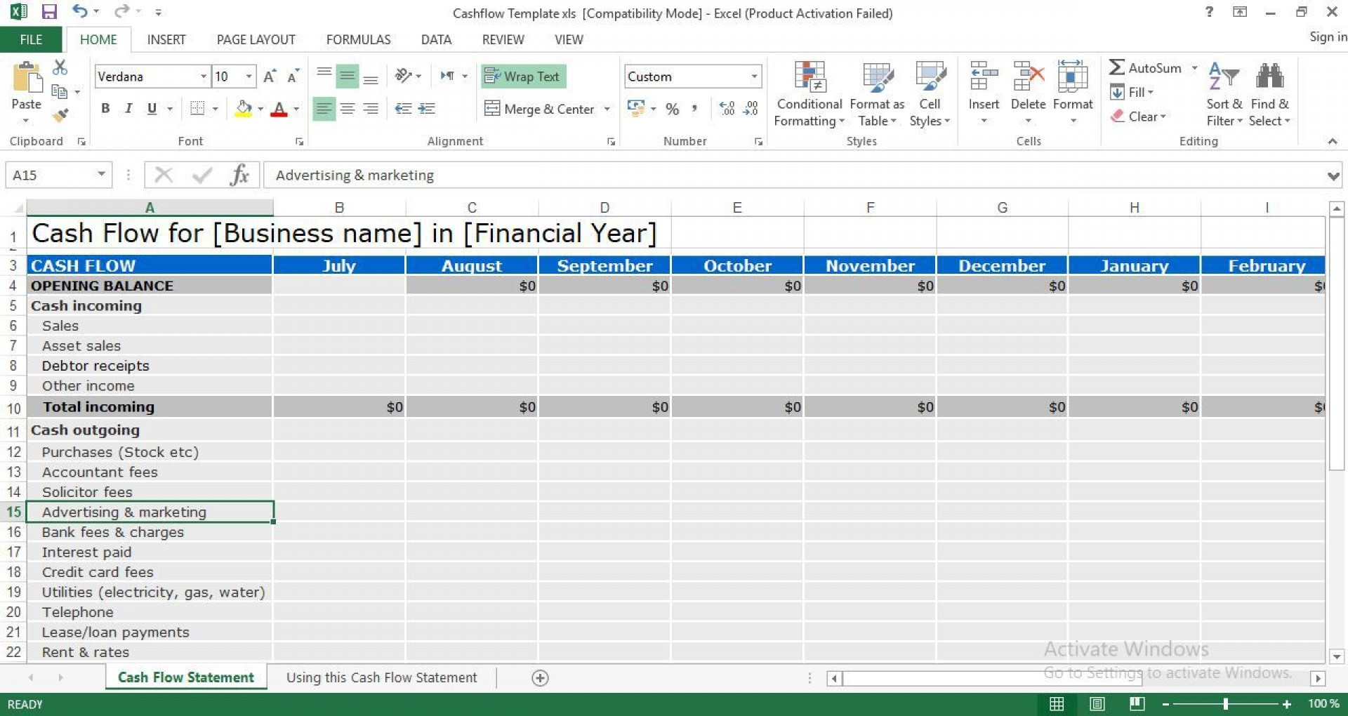 004 Exceptional Cash Flow Format Excel Download Sample  Forecast Template Indirect Statement In Free1920