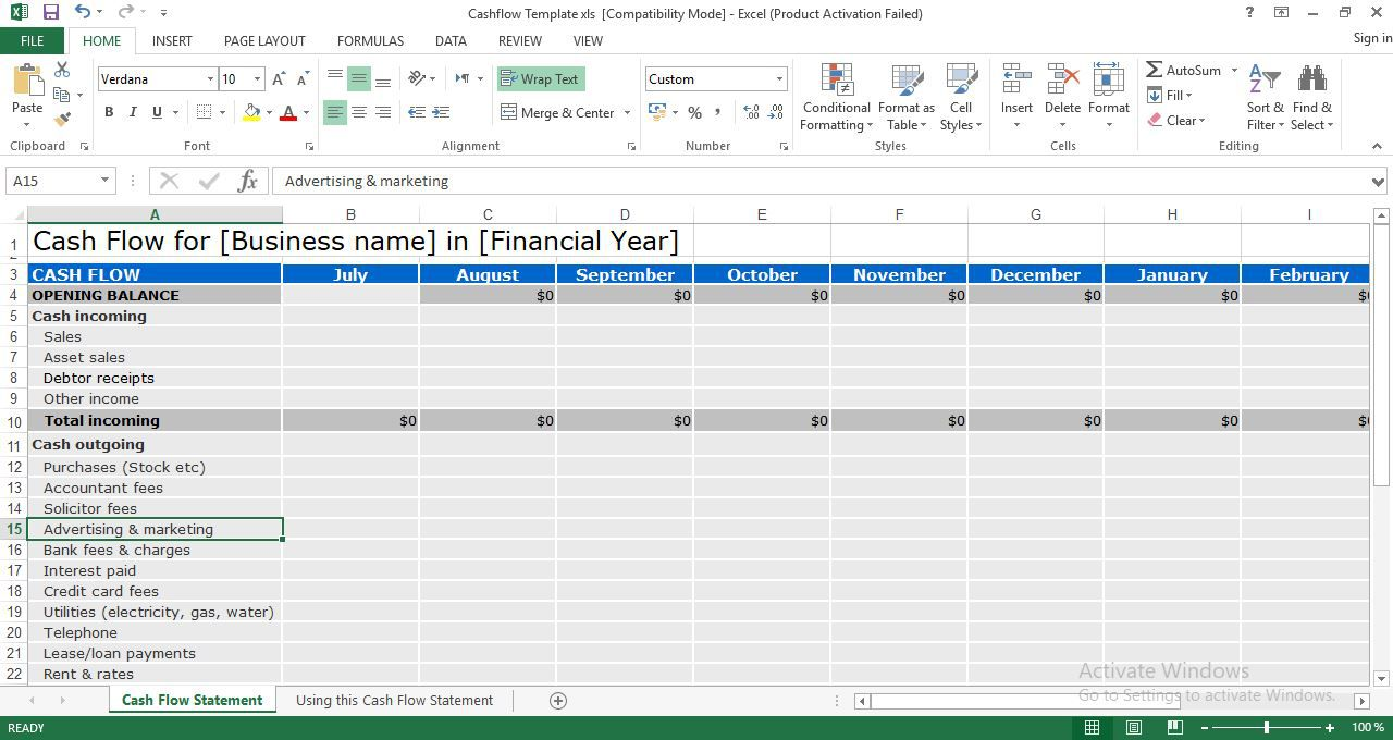 004 Exceptional Cash Flow Format Excel Download Sample  Forecast Template Indirect Statement In FreeFull