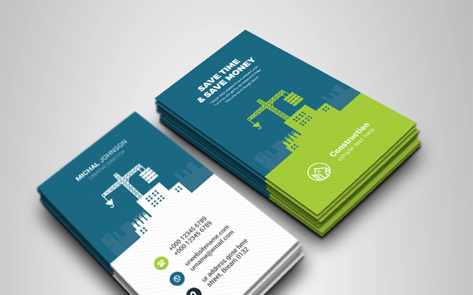004 Exceptional Construction Busines Card Template Picture  Templates Visiting Company Format Design PsdFull