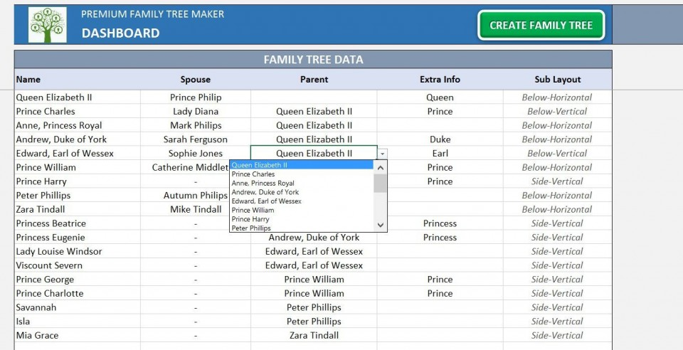 004 Exceptional Excel Family Tree Template Picture  10 Generation Download Free Editable960