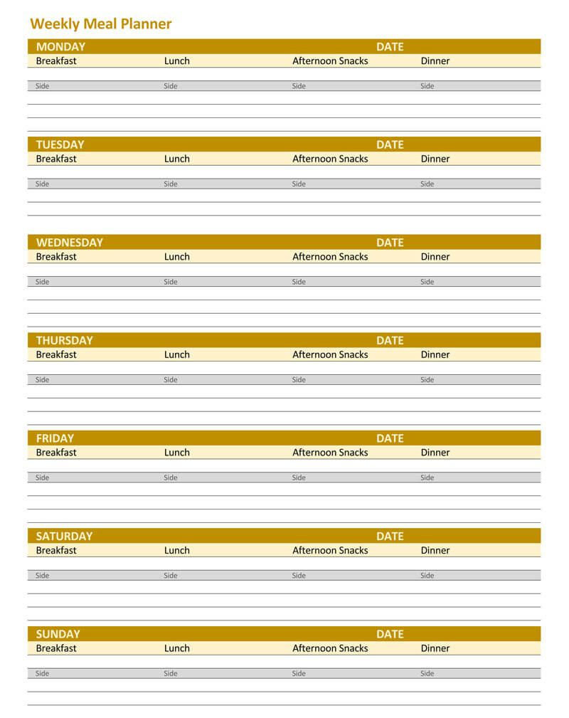 004 Exceptional Excel Weekly Meal Planner Template Idea  With Grocery List DownloadableFull