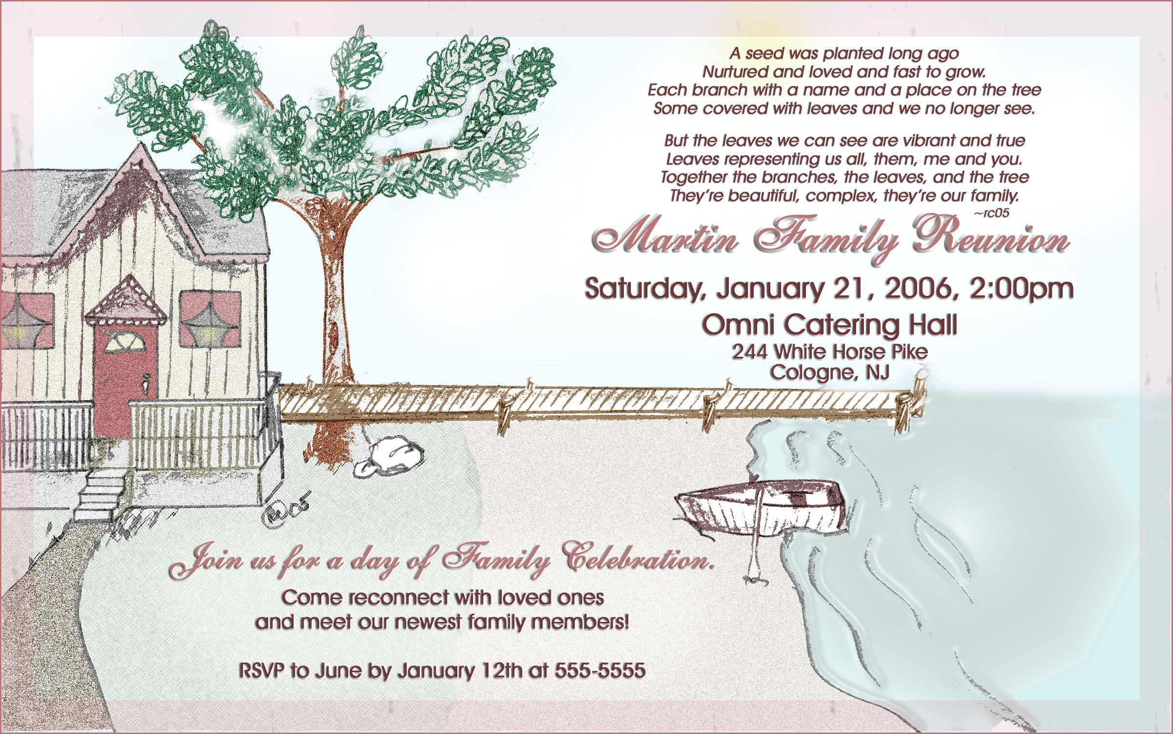 004 Exceptional Family Reunion Invitation Template Free Concept  For Word OnlineFull