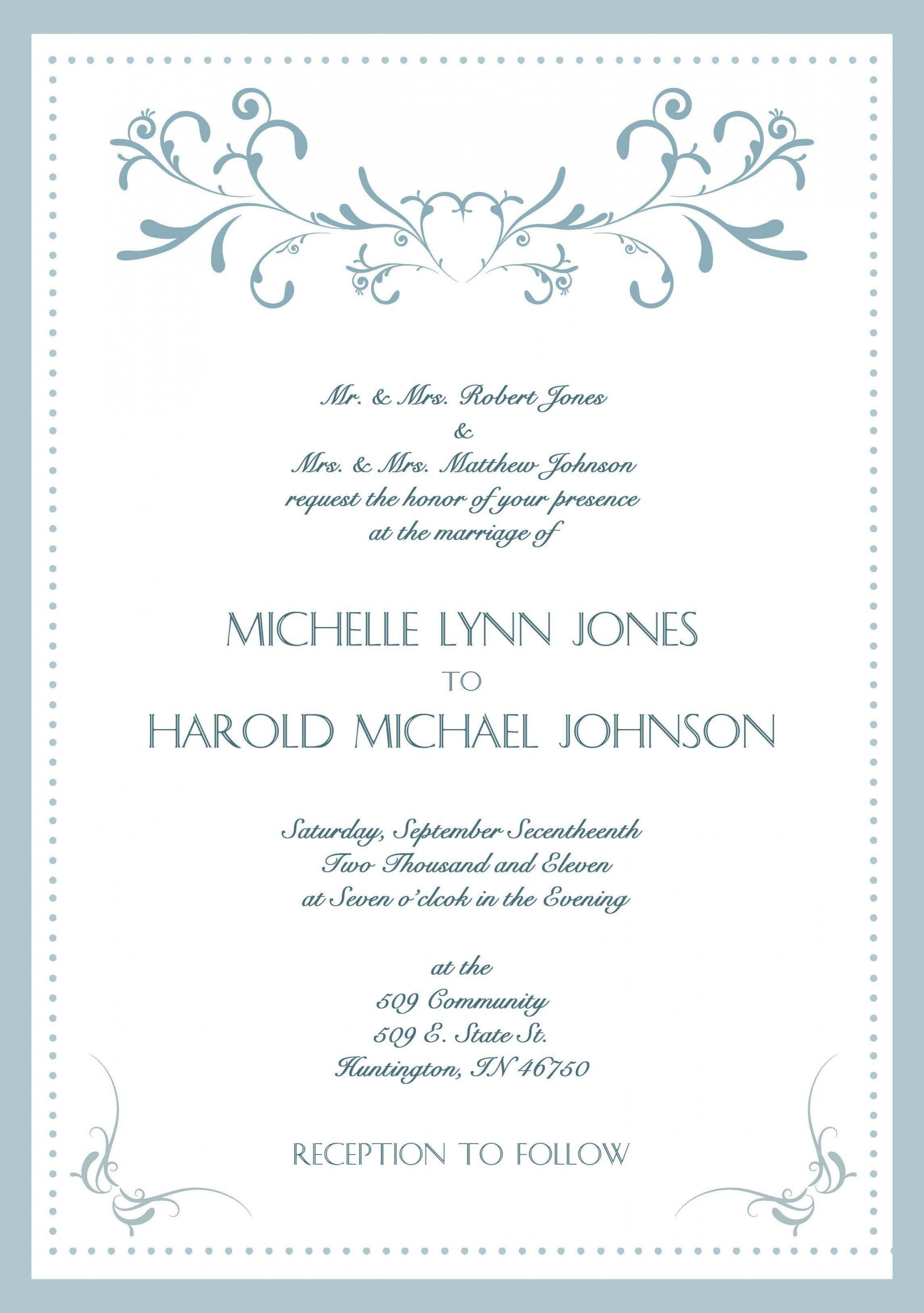 004 Exceptional Formal Wedding Invitation Wording Template High Definition  Templates1920