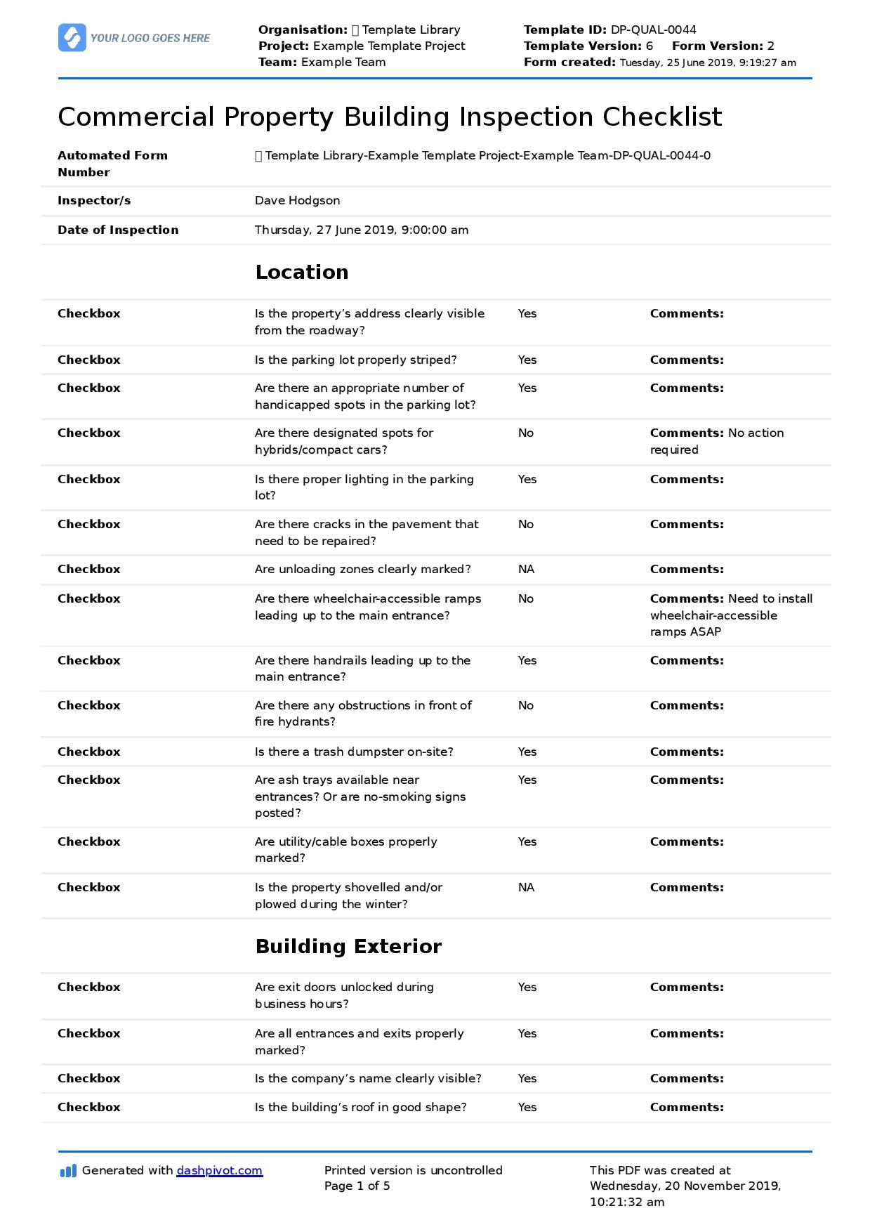 004 Exceptional Free Commercial Construction Punch List Template Highest Quality Full