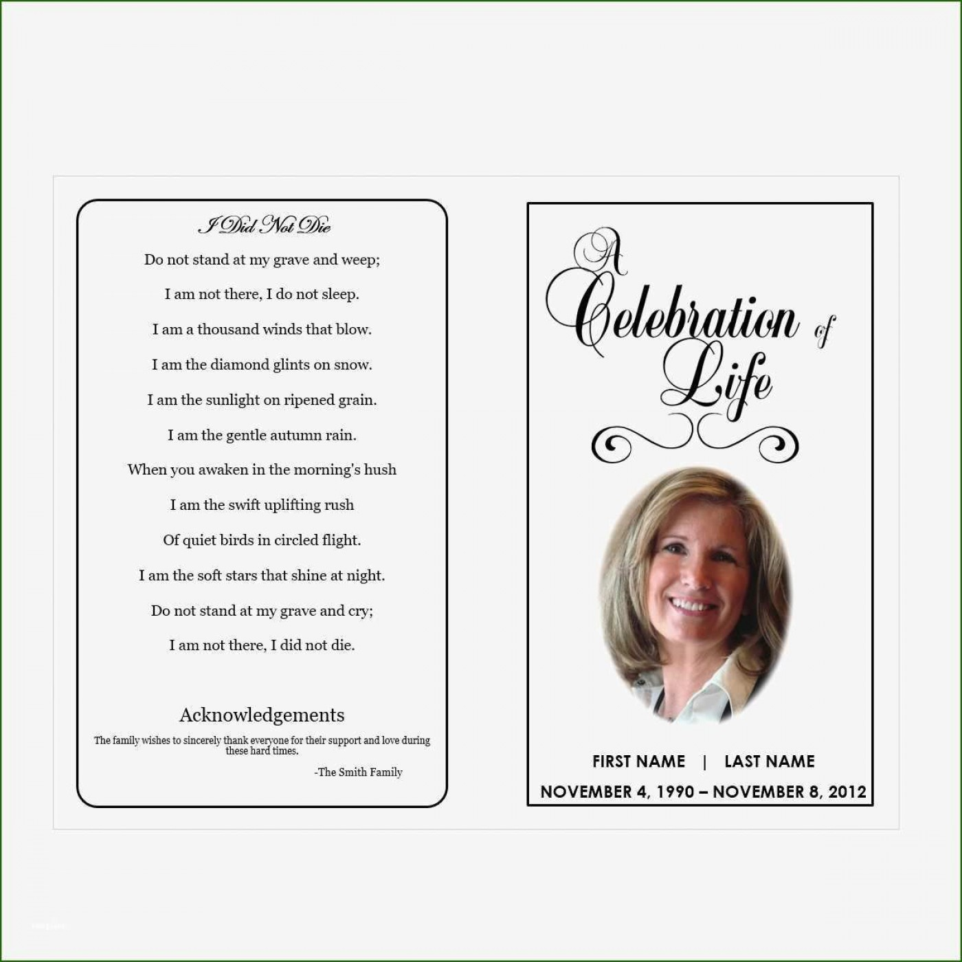 004 Exceptional Free Printable Celebration Of Life Program Template Image 1400