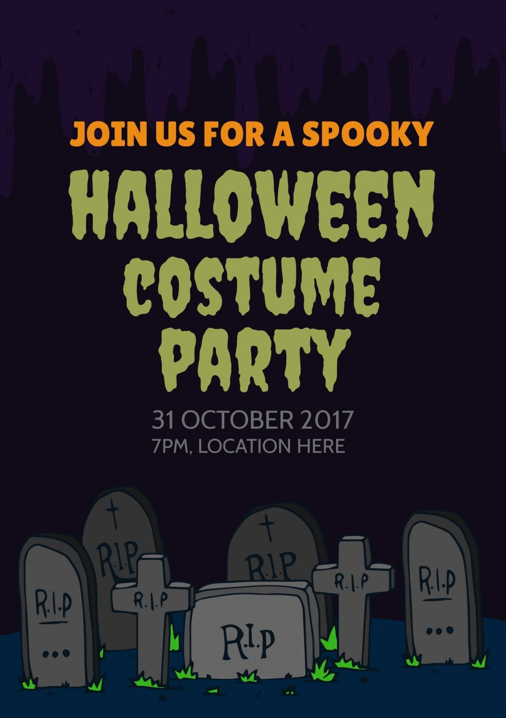 004 Exceptional Halloween Party Invite Template High Definition  Templates - Free Printable Spooky Invitation BirthdayLarge